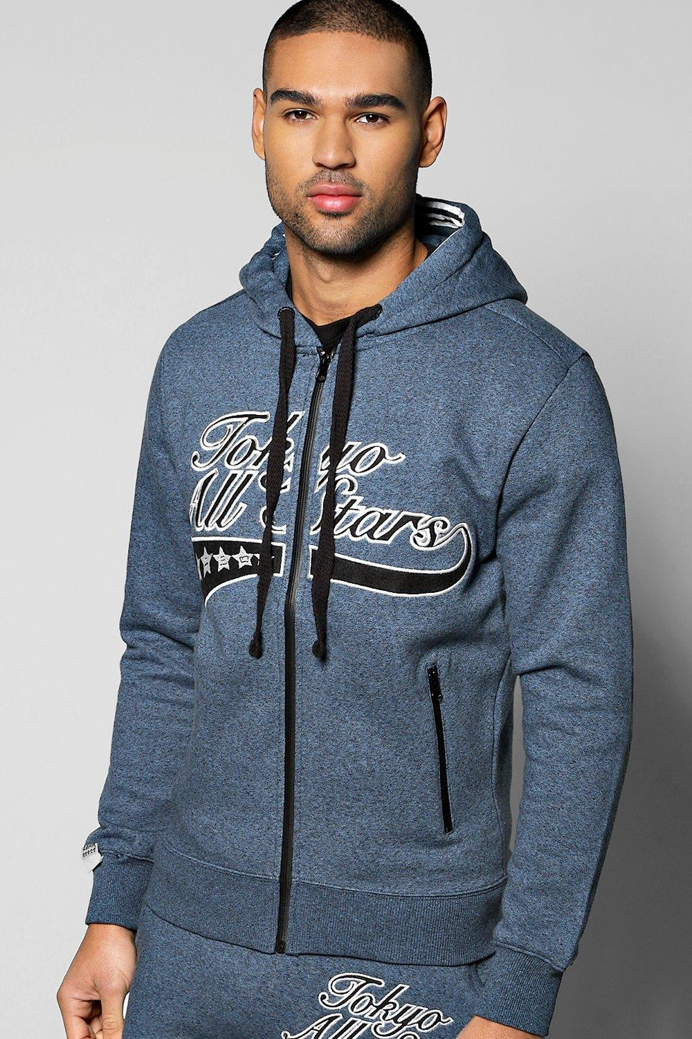 Image of All Stars Salt and Pepper Hoodie - blue