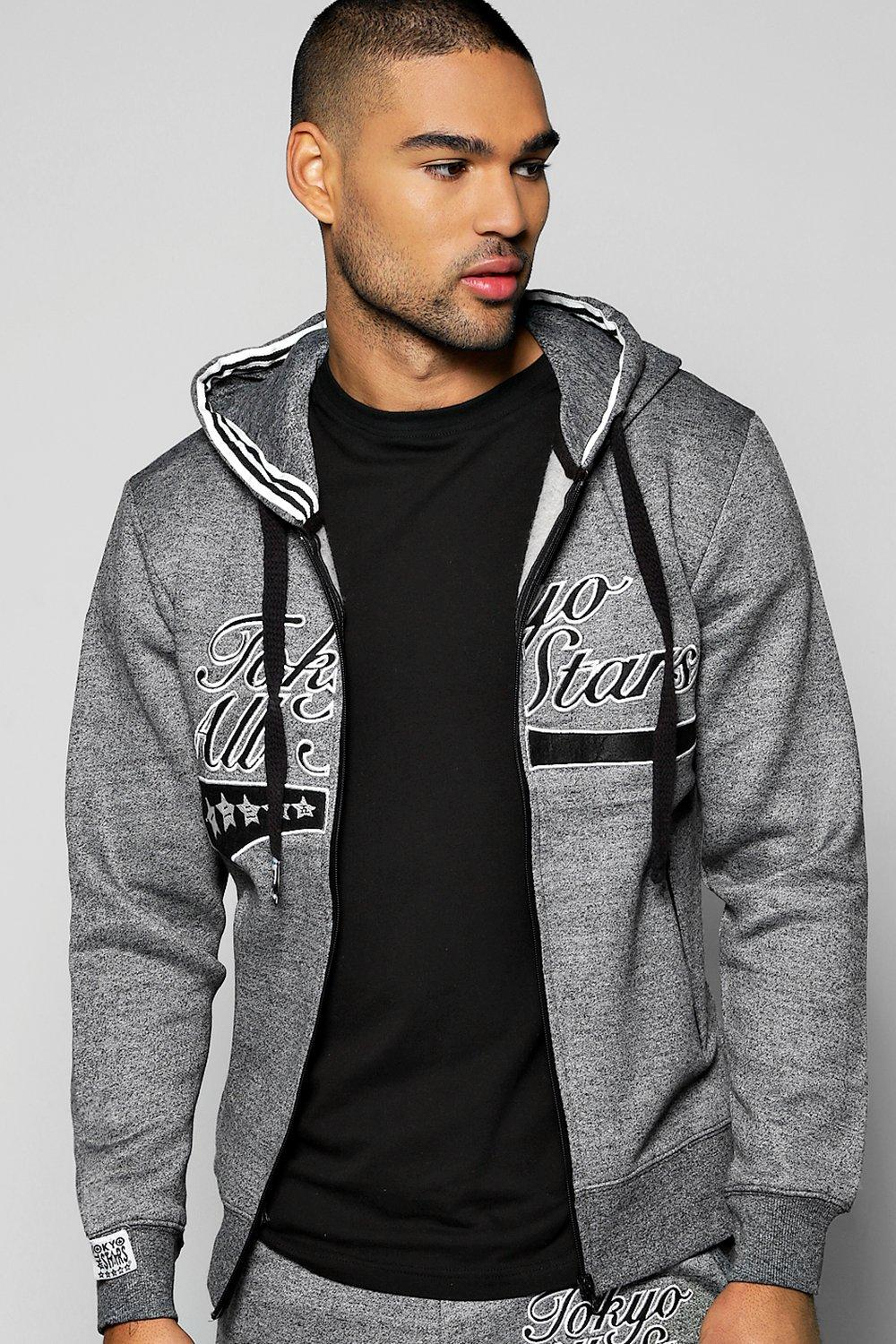 Image of All Stars Salt and Pepper Hoodie - black