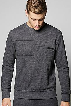 Waffle Panel Sweater with Zip Pocket