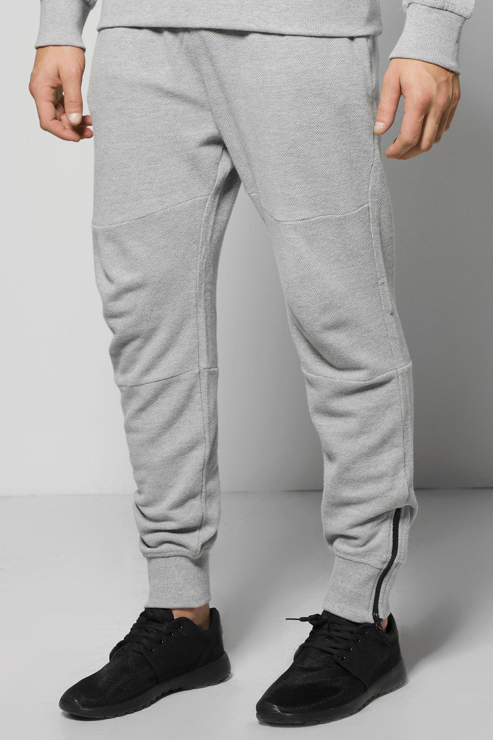 Fit Waffle Joggers with Zip Cuff - grey