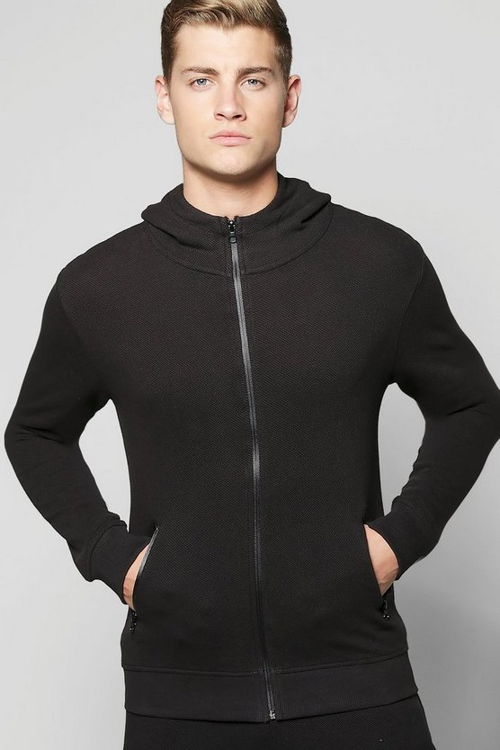 Waffle Hoodie with Funnel Neck