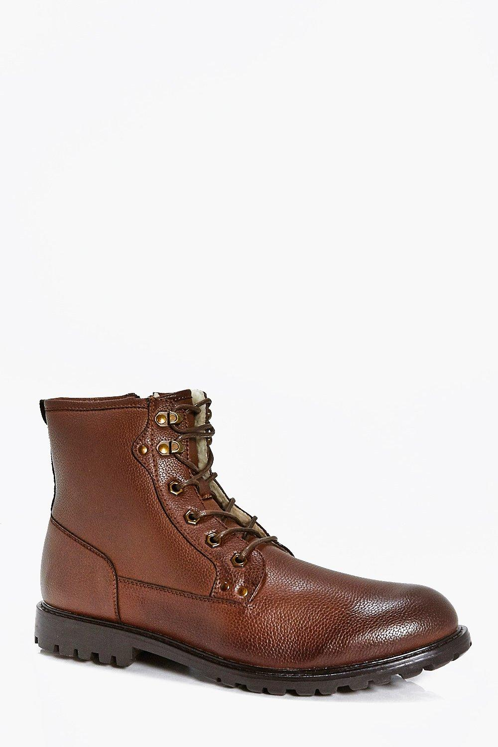 Borg Lined Lace Up Worker Boot with Zip