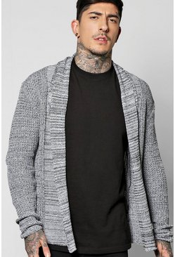 Fisherman Knit Edge to Edge Marl Cardigan