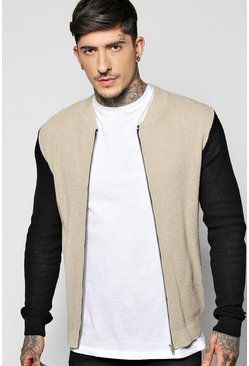 Contrast Knitted Zip Through Bomber