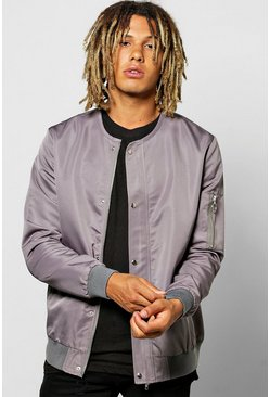Collarless Button Through Nylon Bomber