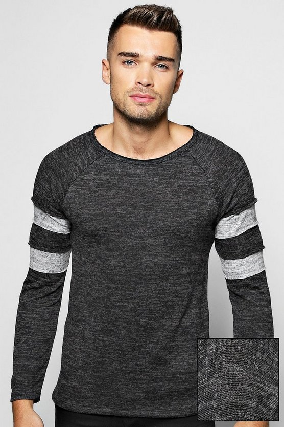 Space Knit Jumper with Sports Stripes