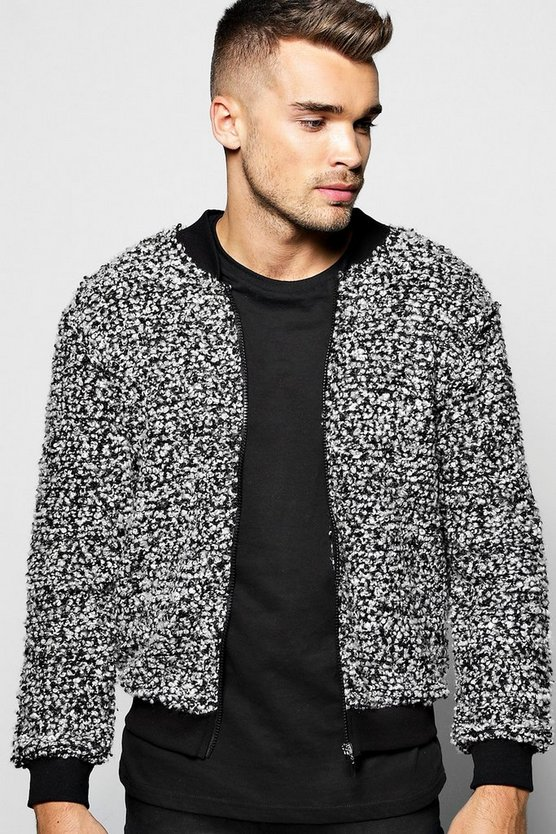 Boucle Bomber in Salt and Pepper