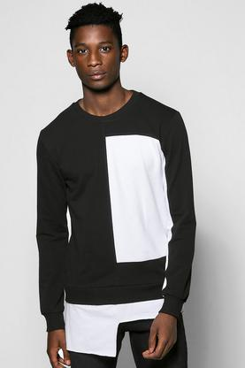 Spliced Sweater with Extended Hem