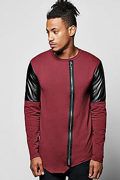 Asymetric Biker Sweater with Zip Front