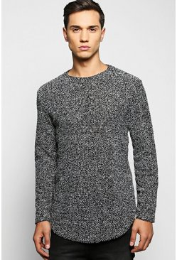 Long Line Textured Jumper with Curve Hem