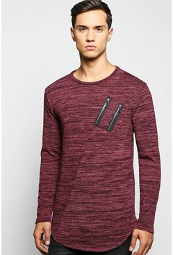 Space Knit Jumper with Double Zip/Scoup Hem