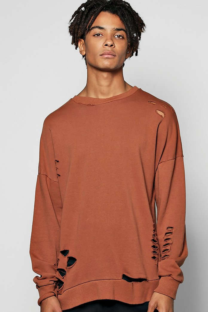 Oversized Drop Shoulder Destroyed Sweatshirt
