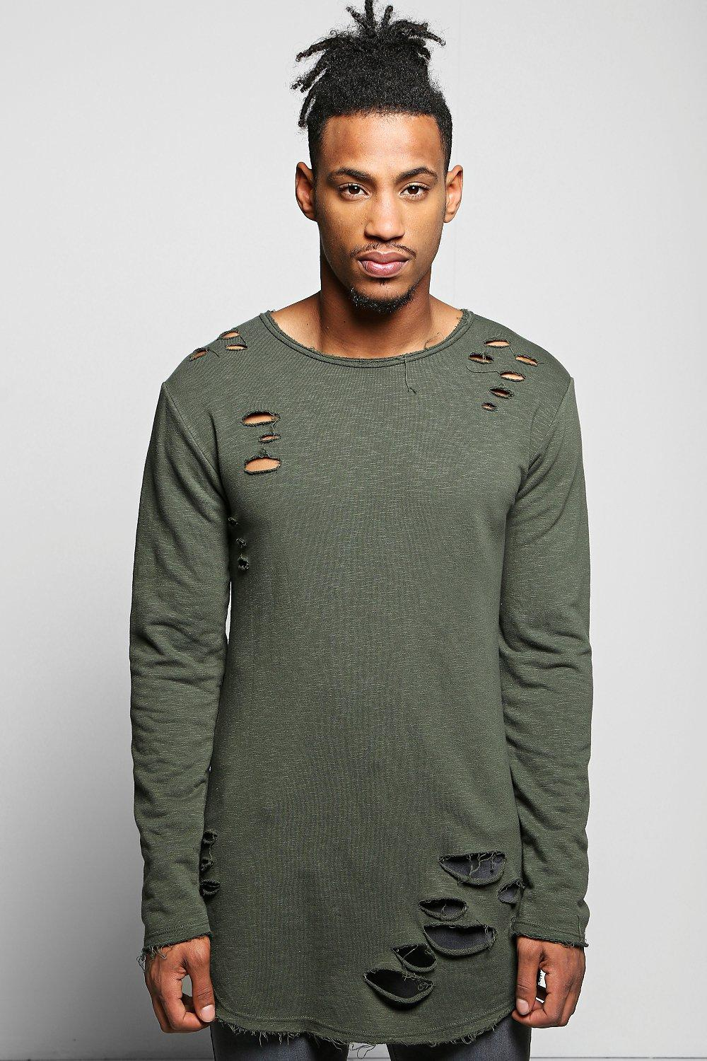 Long Line Destroyed Jumper with Curve Hem