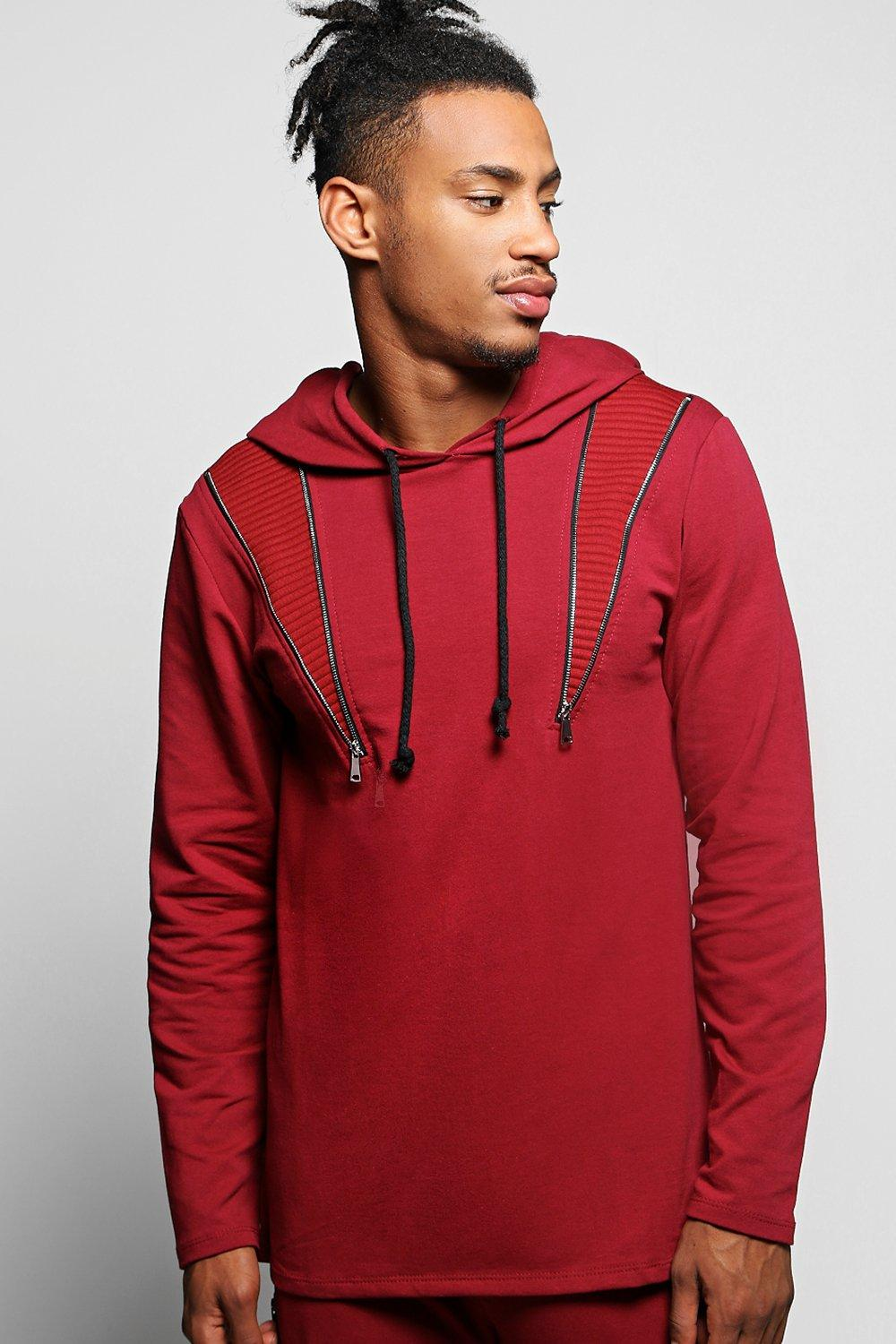 Over The Head Hoodie with Zip Panels