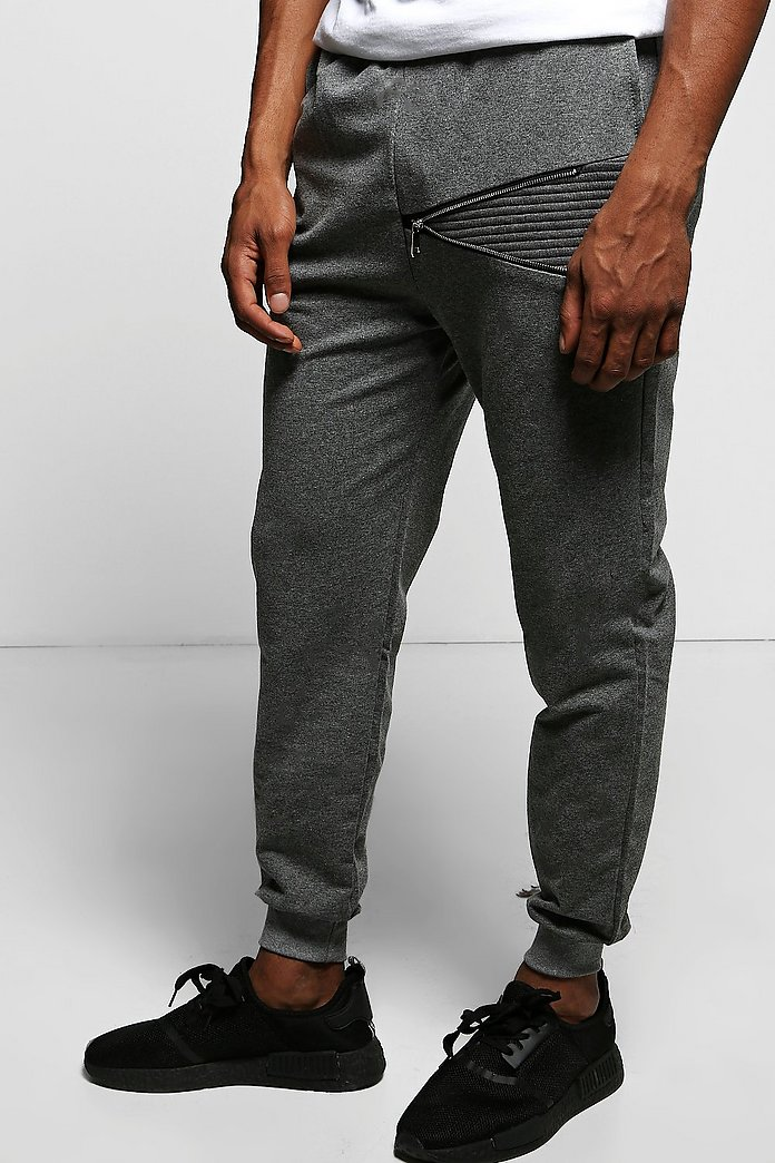 Skinny Fit Biker Detail Joggers with Zip