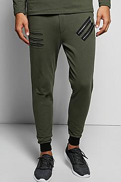 Skinny Fit Distressed Jogger with Zips