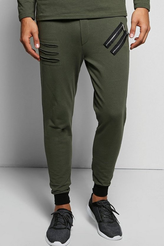 Skinny Fit Distressed Joggers with Zips