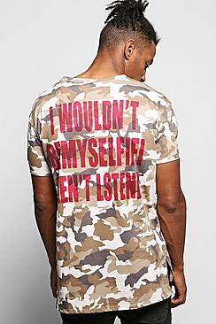 Oversized Camo T-Shirt with Back Print