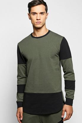 Panel Sweatshirt with Extended Hem