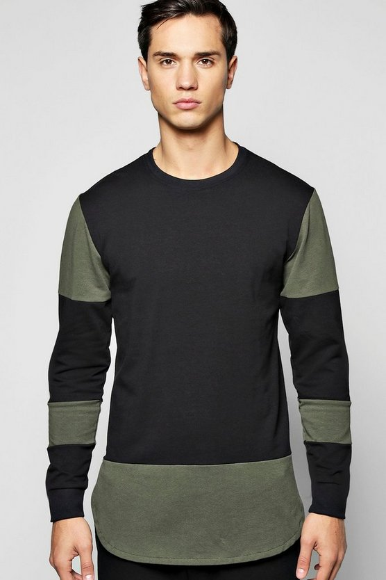Panel Sweater with Extended Hem
