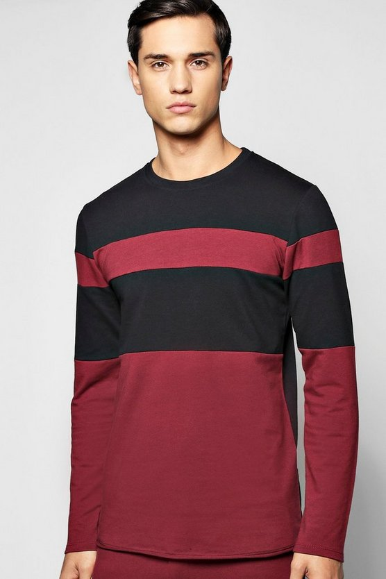 Longline Panel Sweatshirt with Raw Edges