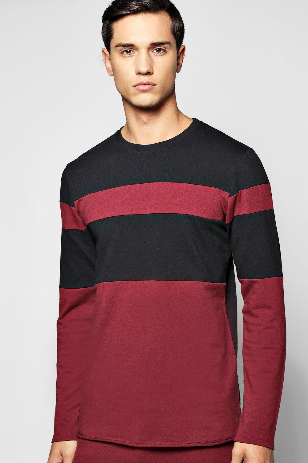 Longline Panel Sweater with Raw Edges