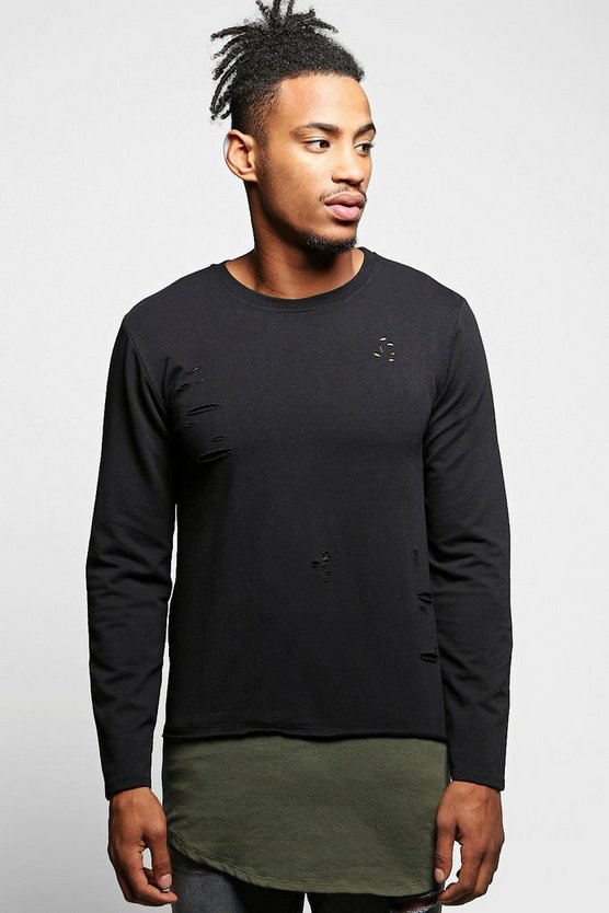 Muscle Fit Distressed Sweatshirt with Extended Panel