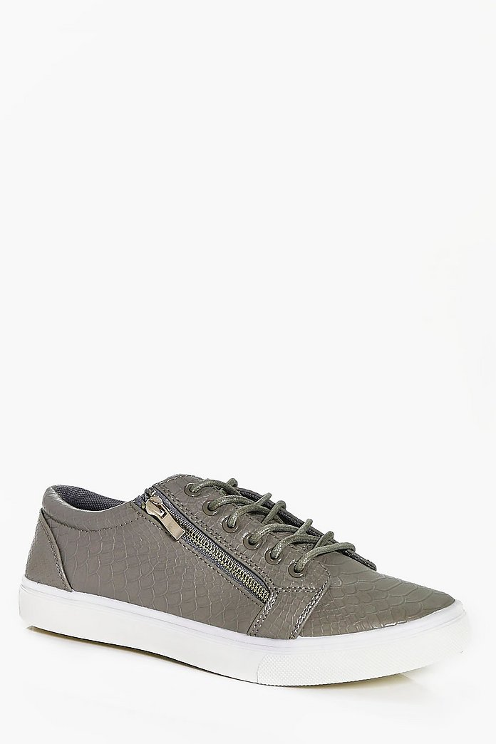 Croc PU Lace Up Trainer with Zip