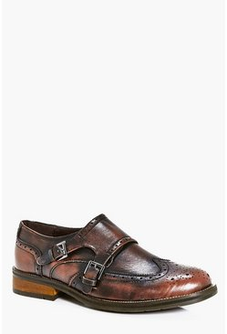 Double Buckle Smart Brogue Shoes