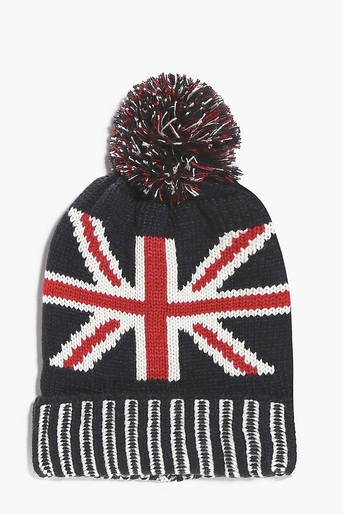 Union Jack Knitted Pom Pom Beanie