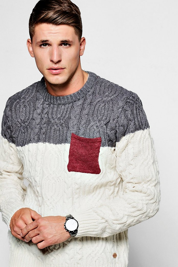 Colour Block Cable Jumper