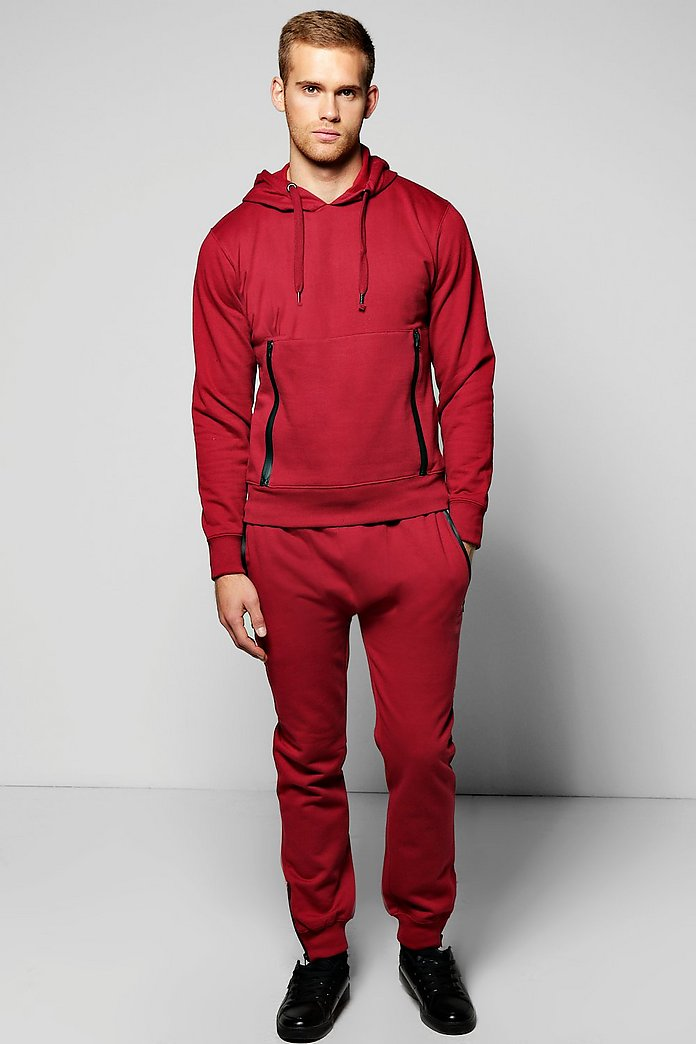 Skinny Fit Hooded Tracksuit with Sports Zips