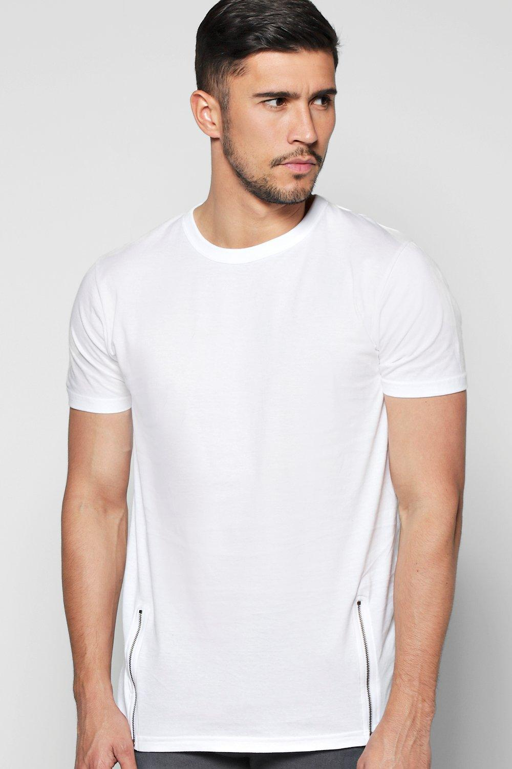 Long Line T-Shirt with Front Zips