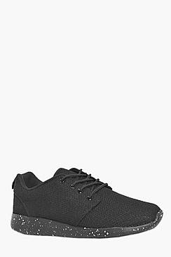 Lace Up Running Trainers with Speckled Sole