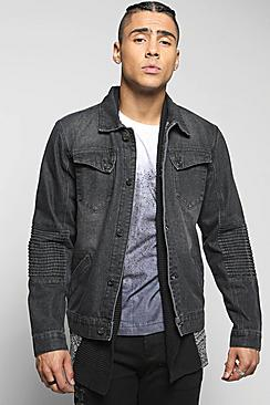 Quincy Denim Jacket with Biker Detailing