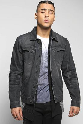 Denim Jacket with Biker Detailing