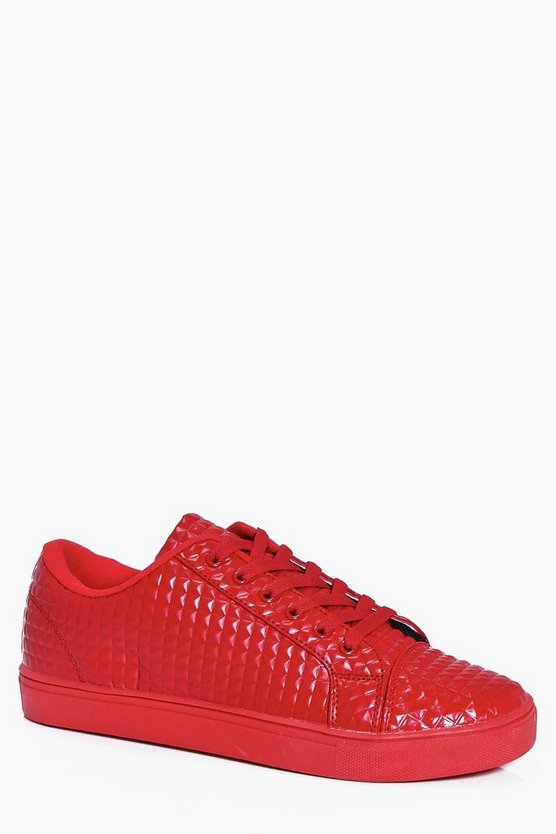 Lace Up Diamond Textured Trainer
