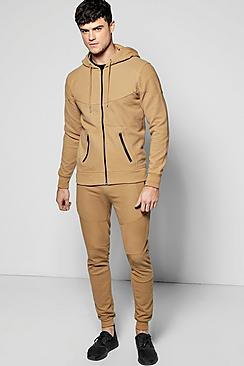 Skinny Fit Hooded Ribbed Tracksuit