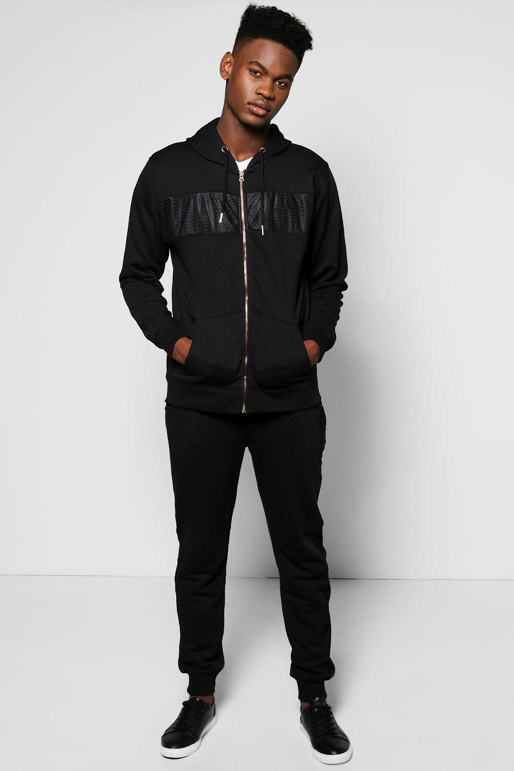 Skinny Fit Mesh Panel Tracksuit
