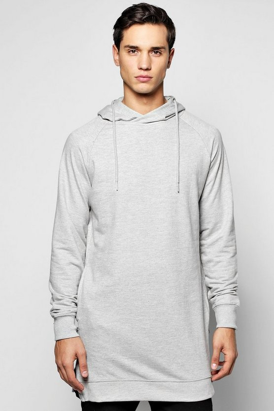 Longline Raglan Hoodie with Side Zips