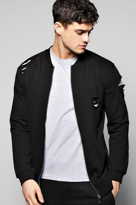 Destroyed Jersey Bomber With Side Zips