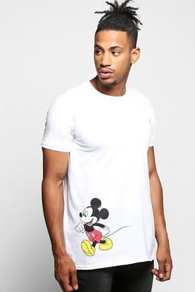 Mickey Mouse Tee With Chest & Hem Print