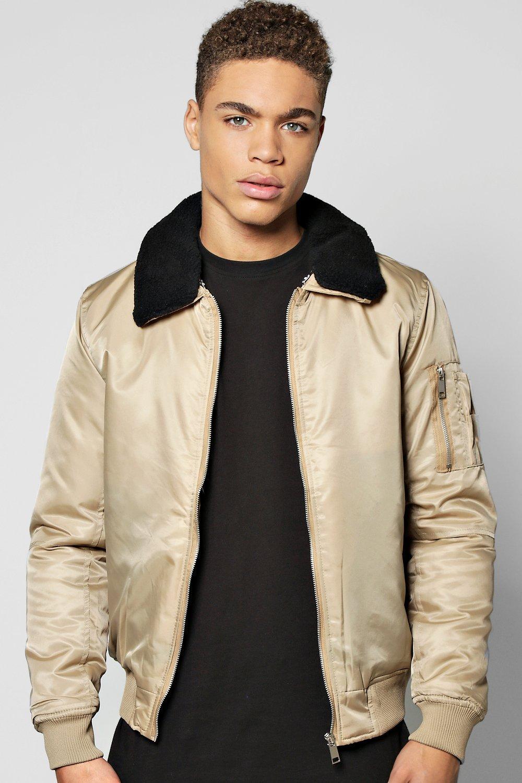 Men's Vintage Style Coats and Jackets Nylon Bomber WDetachable Borg Collar stone $52.00 AT vintagedancer.com