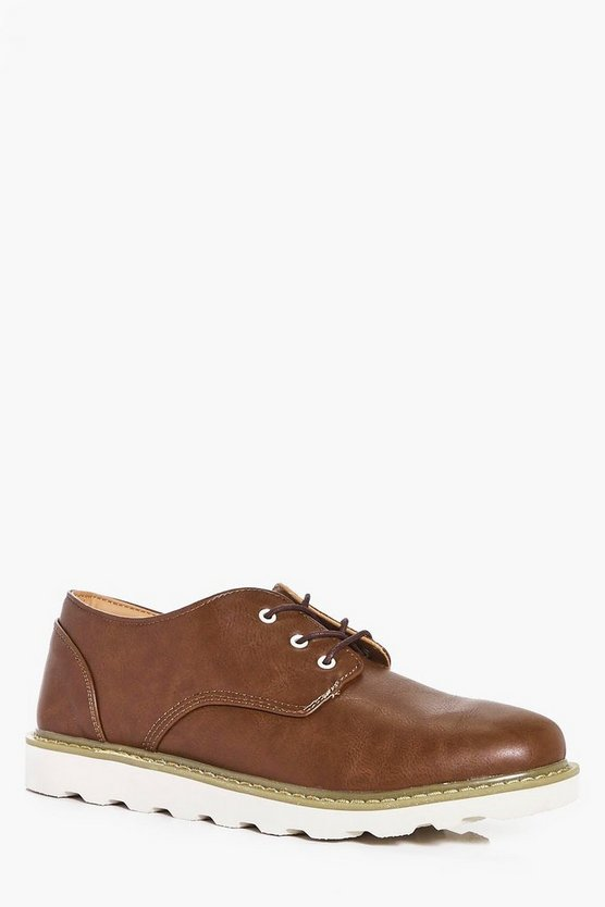 Lace Up Derby with Contrast Sole