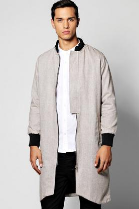 Longline Textured Bomber with front Pocket
