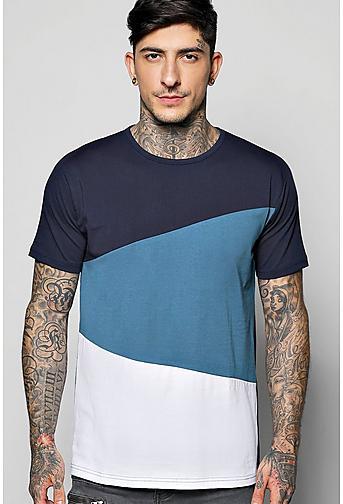 Long Line Step Hem Splice T-Shirt
