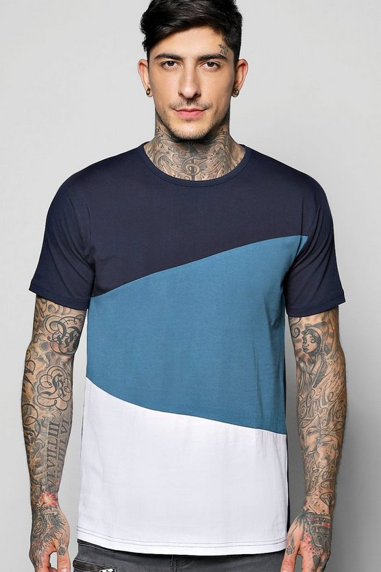 Long Line Step Hem Splice T-Shirt