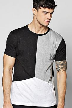 Long Line Step Hem Nepp Splice T-Shirt