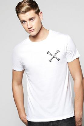 Cross Bones Chest Print T-Shirt