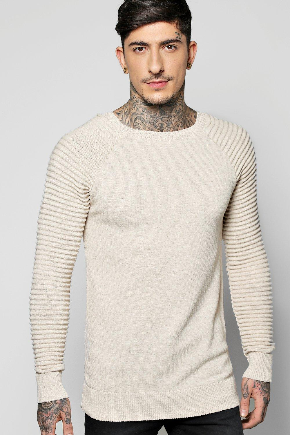 Crew Neck Jumper With Ribbed Sleeves